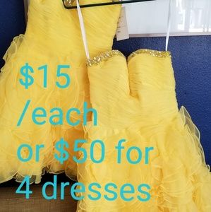 Bridesmaid gold tulle dress